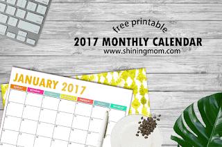 free printable 2017 monthly calendar