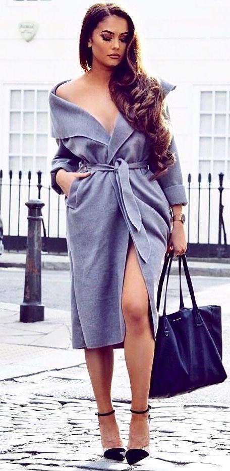 fall fashion trends: coat + bag + heels