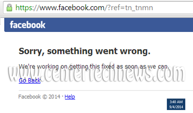 Trending: Facebook is Down #FacebookDown as of September 4, 2014 Starting 3:40 AM +08:00 UTC