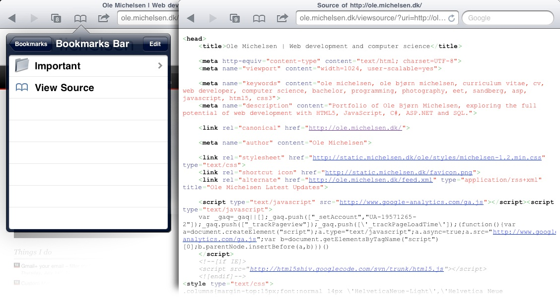 View Website Source Code on iPad / iPhone | Love is Everything