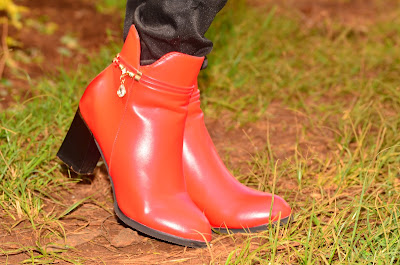A way to easily wear red ankle boots