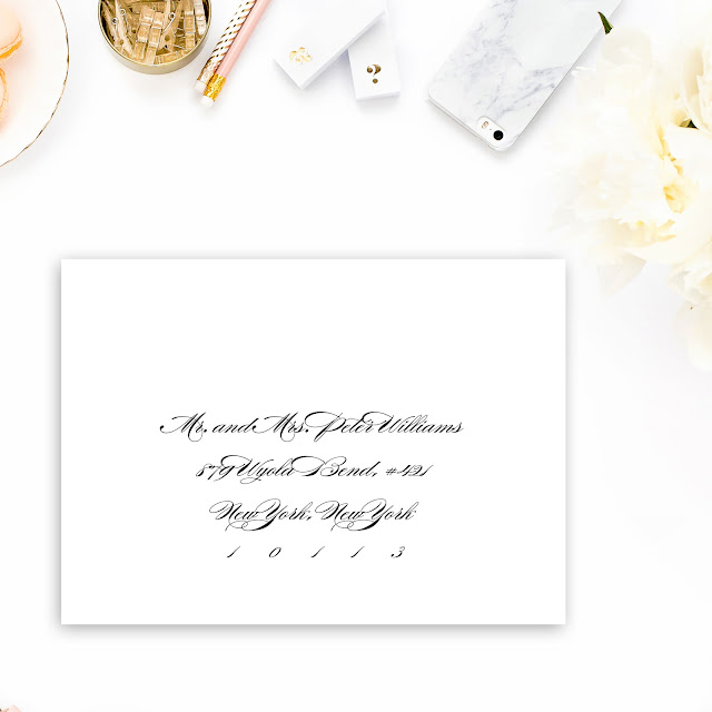 envelope is addressed in a formal manner to a married couple.