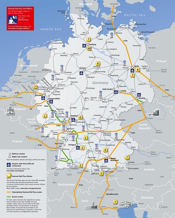 German Rail Pass 特別優惠地圖