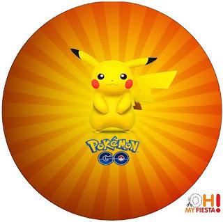 Toppers o Etiquetas de Pikachu para imprimir gratis.