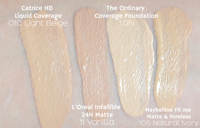 Catrice hd liquid coverage, loreal infallible 24h matte, the ordinary coverage foundation, maybelline fit me