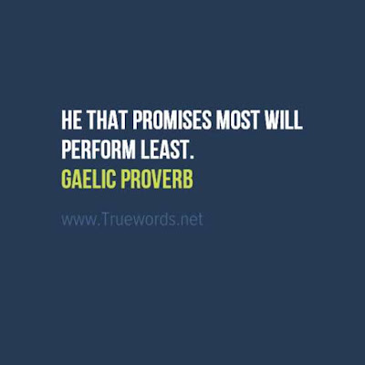 He that promises most will perform least.