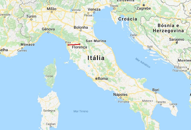 Mapa da viagem de Florença a Pisa