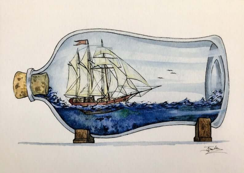 13-Classic-Sailing-Ship-Jon-Guerdrum-Ship-in-a-Bottle-Drawings-and-Paintings-www-designstack-co