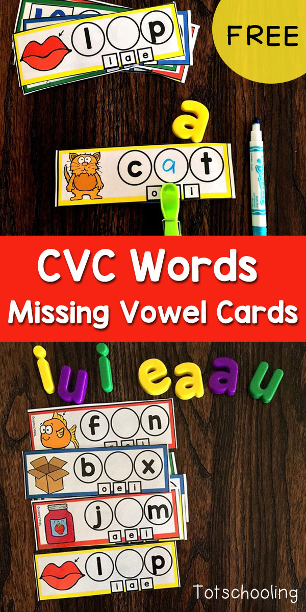 FREE CVC word activity for kindergarten kids to practice reading short vowel words and finding the missing vowel sound. Fun cards for a literacy center. Can be used with dry erase markers and clothespins.