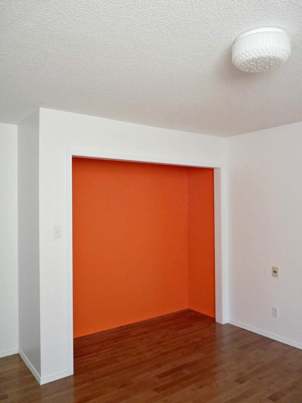 bright orange closet interior