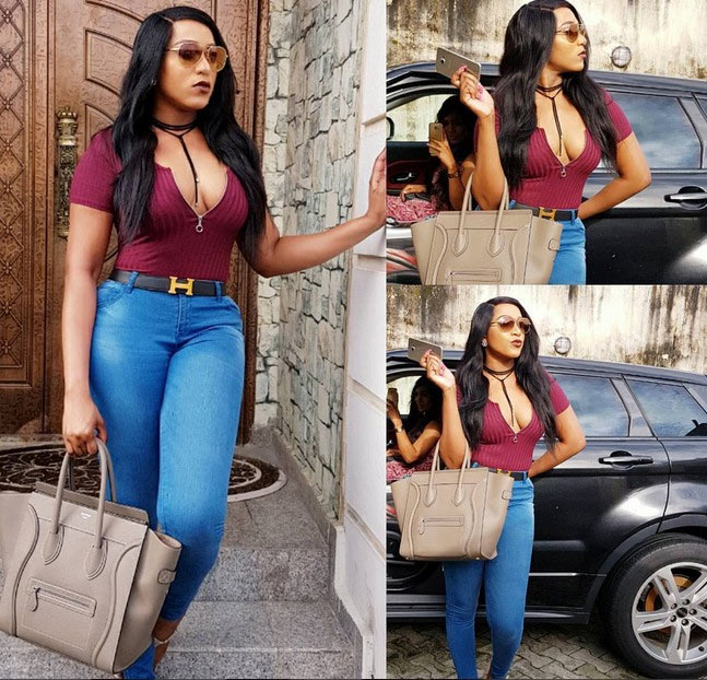 Rukky Sanda and her juicy-looking cleavage step out in style