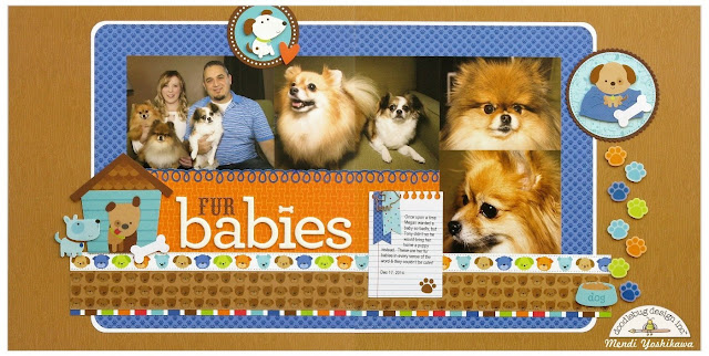 Doodlebug Design Puppy Love Fur Babies Dog 2-page Scrapbook Layout by Mendi Yoshikawa