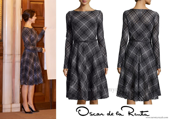 Crown Princess Mary wore Oscar de la Renta Plaid Dress, Carlend Copenhagen clutch, Ole Lynggaard earrings
