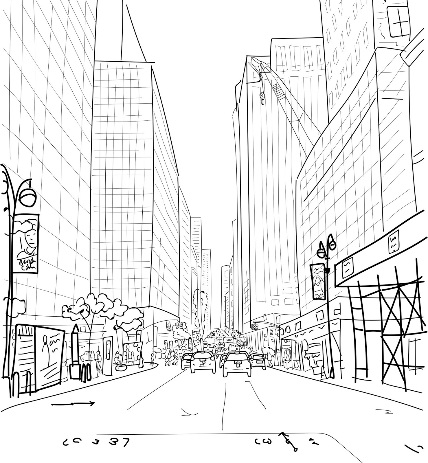 illustration of a Manhattan street with skyscrapers and nyc cabs