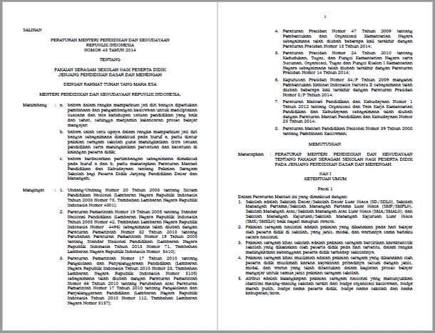Permendikbud Nomor 45 Tahun 2014 Tentang Pakaian Seragam Sekolah