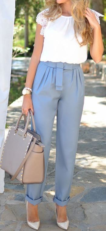 office style obsession: blouse + pants + bag