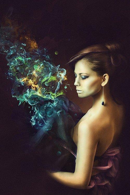 Amazing Fashion Photo Manipulation with Abstract Smoke and Light Effects