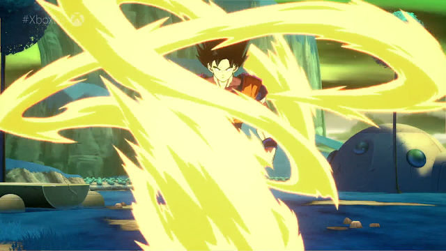 Goku Dragon Ball FighterZ about to go Super Saiyan yellow light energy