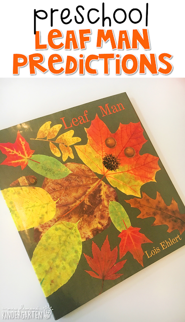 Practice making predictions with Leaf Man by Lois Ehlert. Great for fall in tot school, preschool, or even kindergarten!