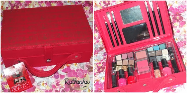 maleta americana de maquiagem maquiagens sombras batons lápis labial para olhos pincéis pincel blush blushes esmaltes batom batons