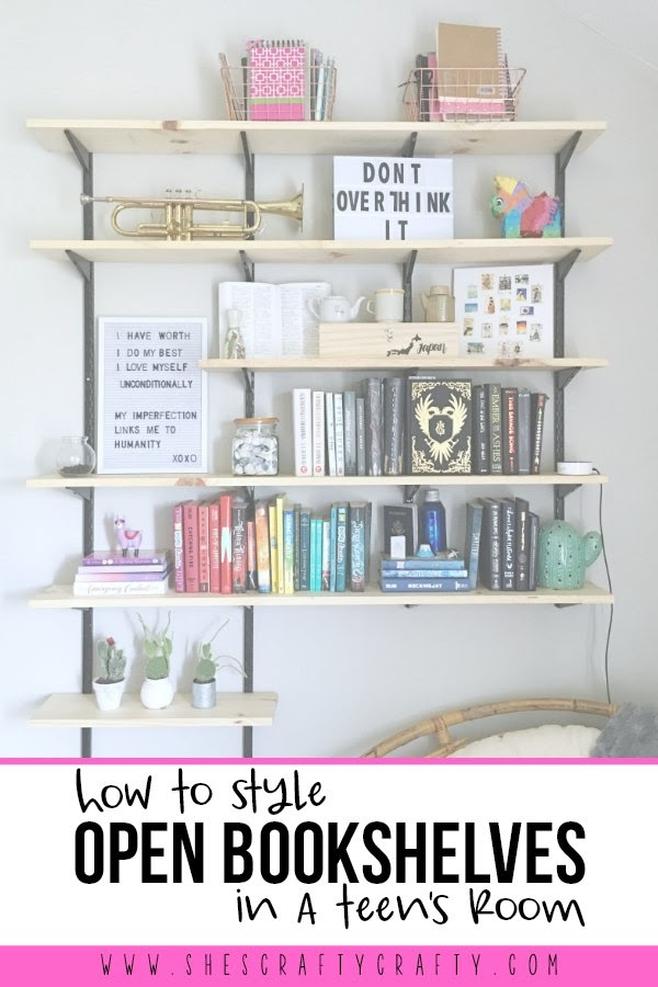 How to hang and style open bookshelves in a teen girl bedroom