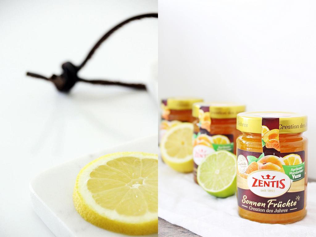 Links eine Zitronenscheibe, rechts Konfitüregläser von Zentis