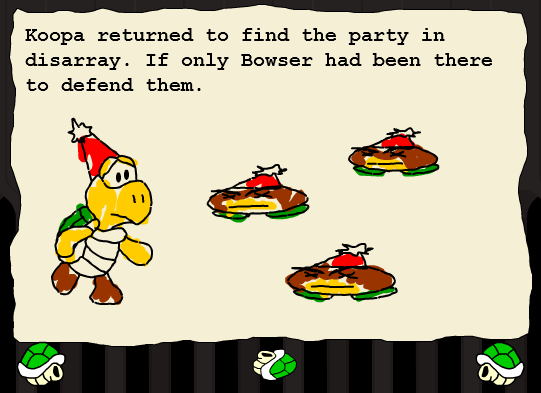 A story scene with Goombas and Koopa in A Koopa's Revenge