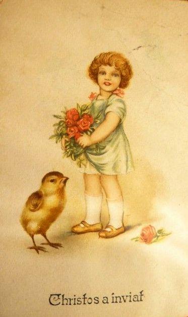 fetita cu flori in mana felicitare Paste vintage Romania Christos a inviat