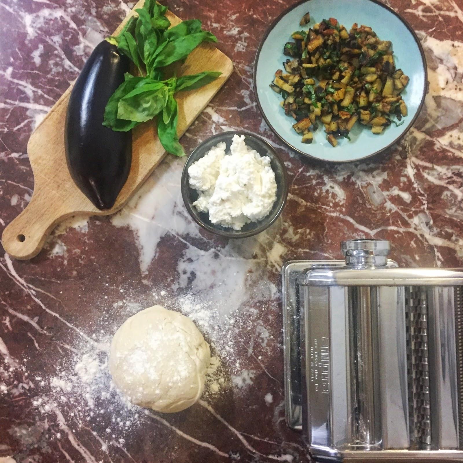 recette facile rapide simple ravioles ravioli aubergine ricotta basilic vegan vegetarien vegetarienne pâtes