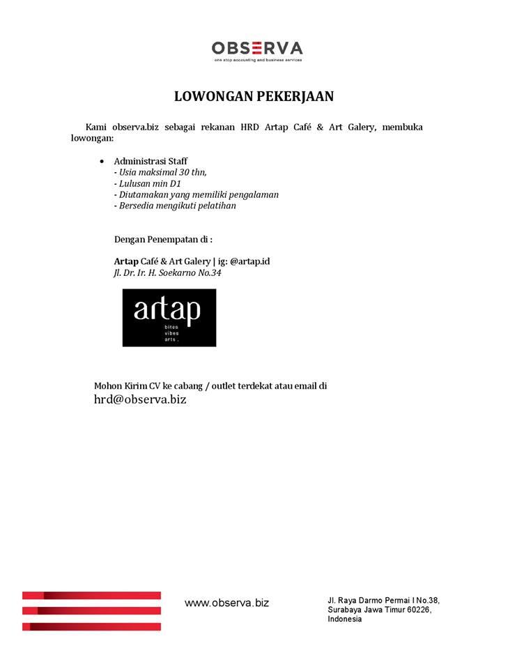 Lowongan Kerja Staff Administrasi Artap Cafe & Art Galery Surabaya