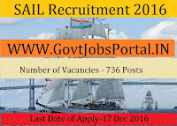 SAIL Recruitment for Technicians and Trainee Posts 2016-17
