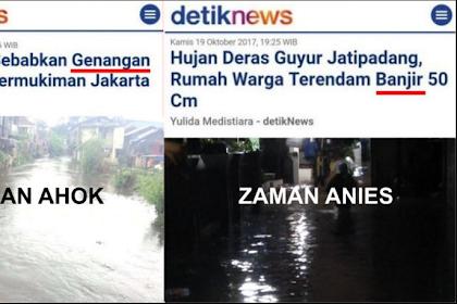 "Lucunya Media, Zaman Ahok Disebut ""Genangan"", Zaman Anies Langsung Disebut ""Banjir"""