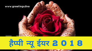 Happy New Year 2018 in Hindi red rose flower in beautiful hands