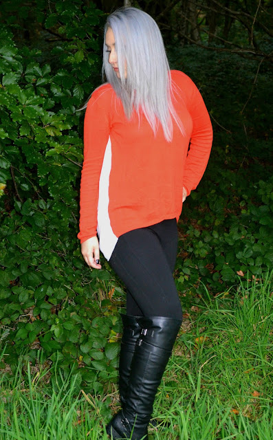 Red Jumper - Peter Pan Collar - Primark - Trousers - River Island - Leggings - Over the knee boots - Flat boots - Outfit - OOTD - Outfit of the day
