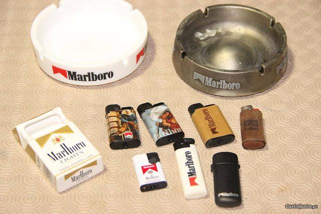 Cinzeiros e isqueiros Marlboro (Imagem: Reprudução/Custo Justo)