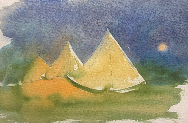 Saturday, 25th August 2018 -  Triple Teepee and Orange Moon Charcoal and Watercolour Painting
