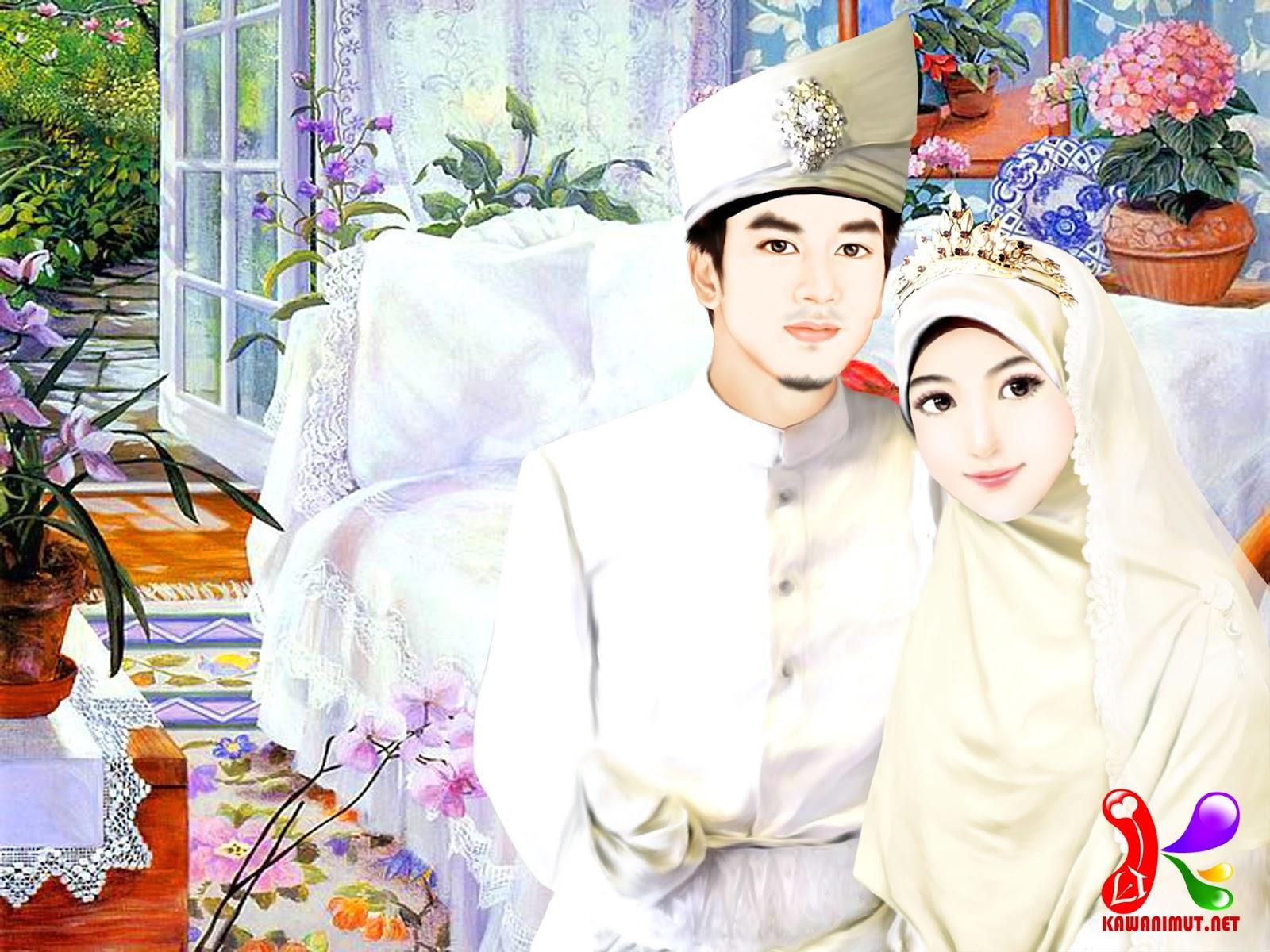 Kumpulan Gambar Karikatur Menikah Hijab