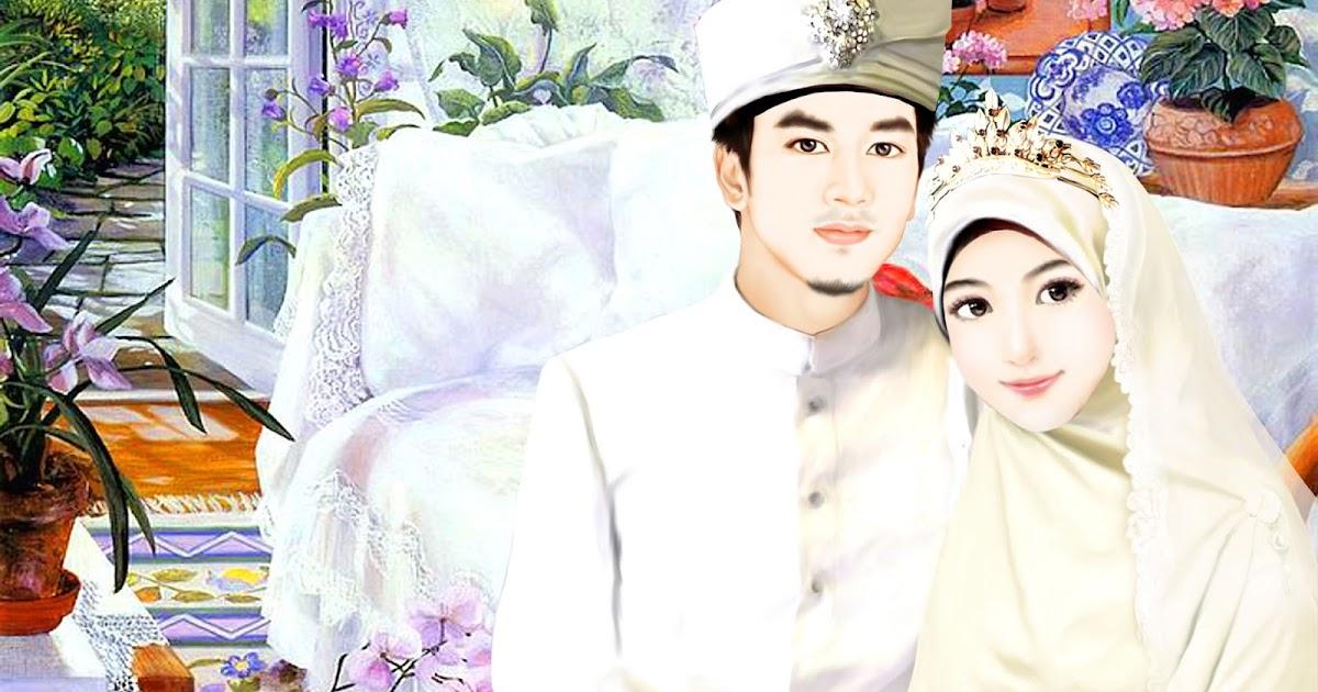 Gambar Kartun Muslimah Pernikahan Design Kartun