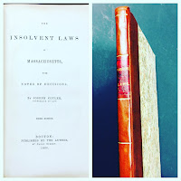 Title page and spine of Cutler's Insolvent Laws of Massachusetts