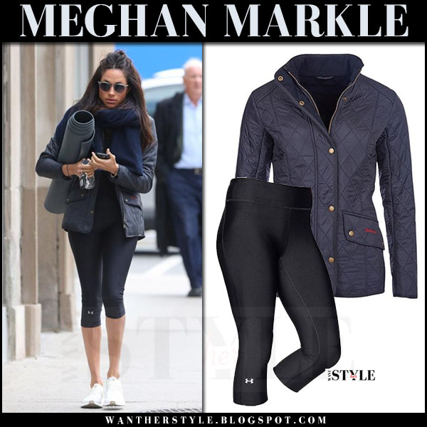 Meghan Markle in blue quilted barbour jacket and black capri leggings under armour what she wore streetstyle april 2017