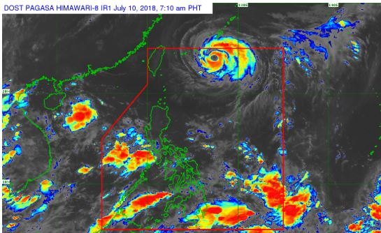 HIMAWARI-8 INFRARED satellite image courtesy of DOST-PAGASA.
