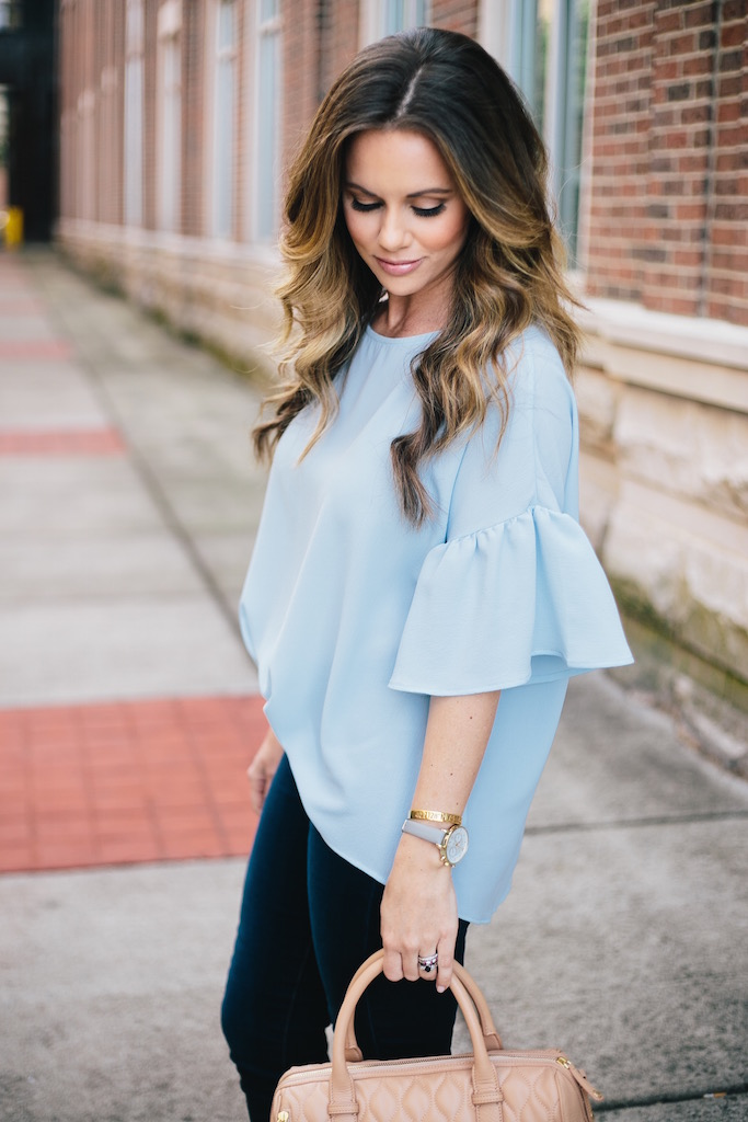 KBStyled: cs gems blue top bell sleeve top