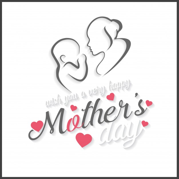 Mother's day lettering illustration with drawing Free Vector