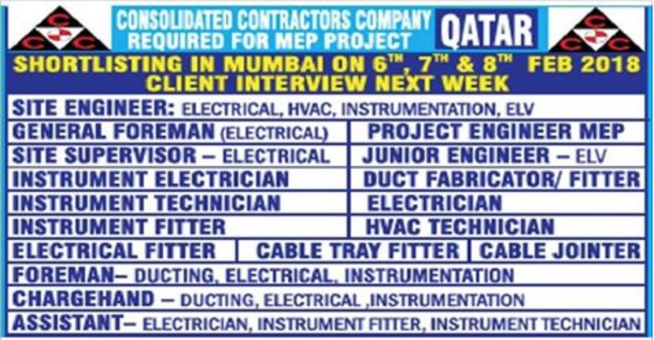 CCC - RECRUITMENT FOR MEP PROJECT IN QATAR | APPLY NOW | All