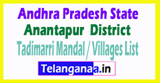Tadimarri Mandal Villages Codes Anantapur District Andhra Pradesh State India