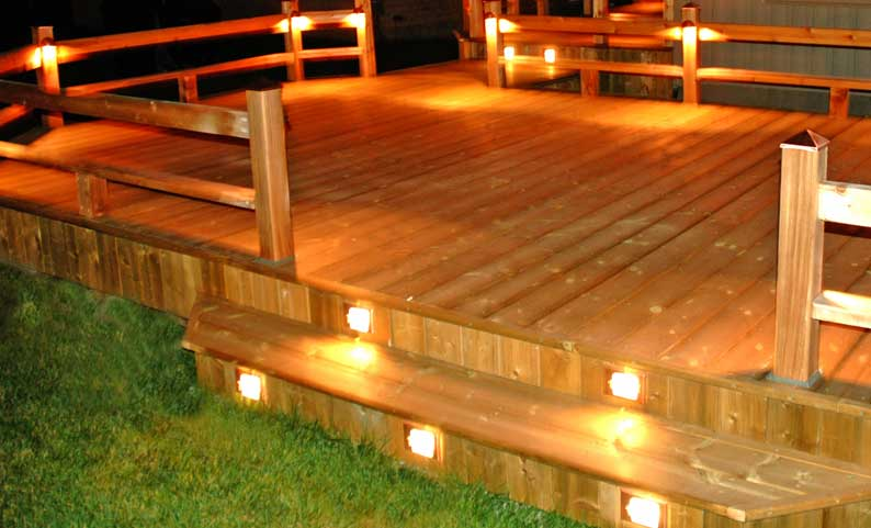 Patio Deck Lighting. large patio deck with pillars built from ...