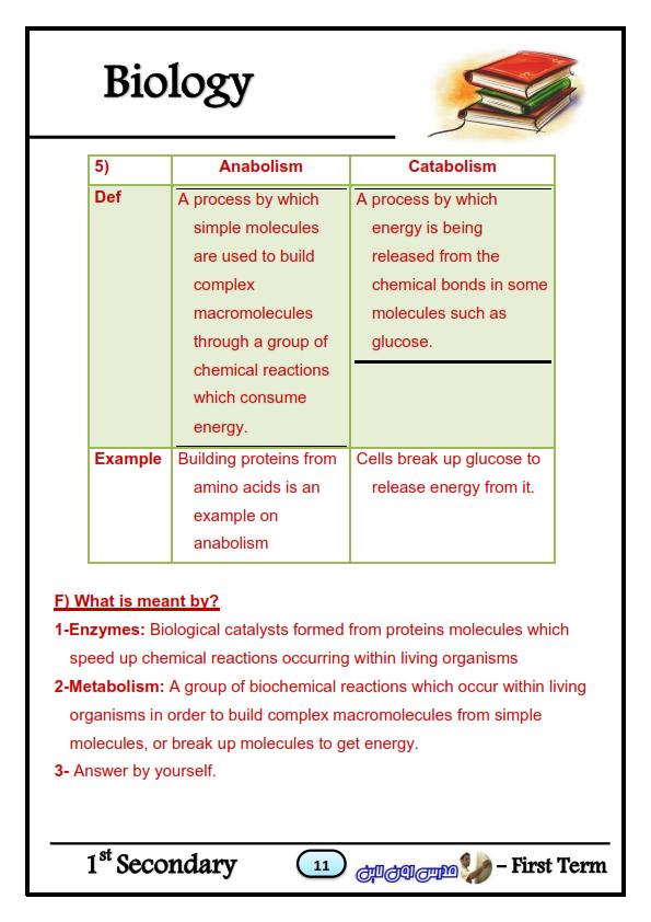 بالاجابات مراجعة Biology أحياء للصف الاول الثانوي لغات ترم أول Biology_011