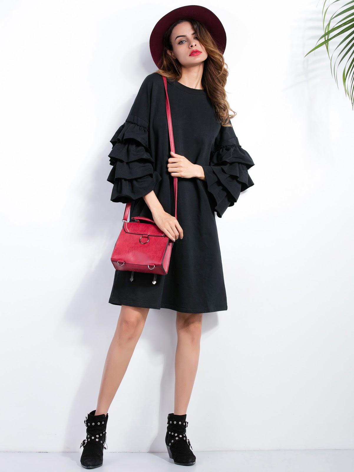 Black Ruffle Sleeve A-Line Dress