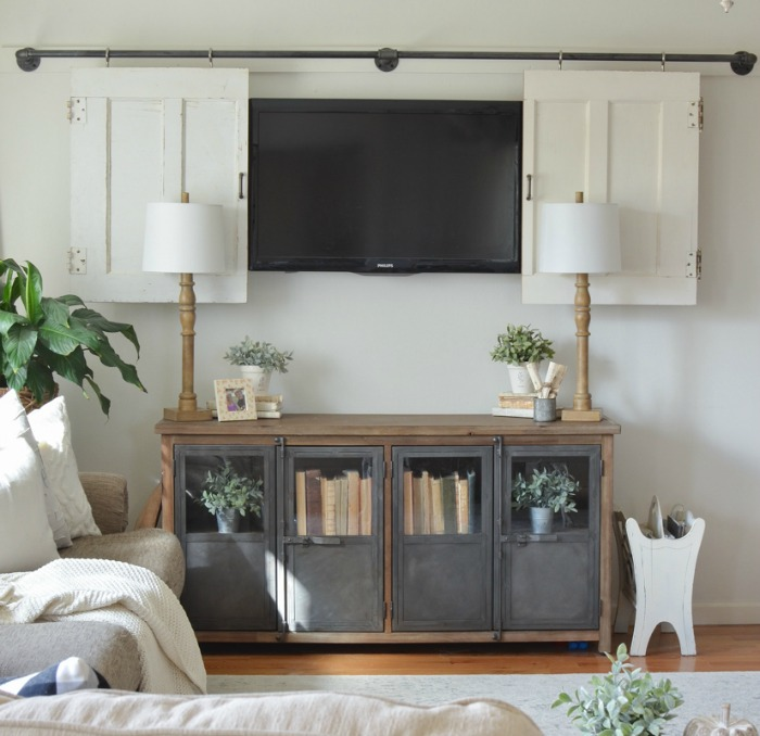 Hide a TV with sliding barn doors