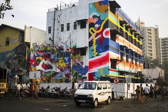 wall art, our world, imageing, sassoon docks, mumbai, india, street, street photo, colourful, bright,